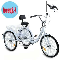 "Adult 24"" 3-Wheel White Trike Bicycle Shimano 7-Speed Tricyc"