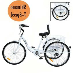 "Adult 24"" 3-Wheel Trike Bicycle Shimano 7-Speed Tricycle Bik"