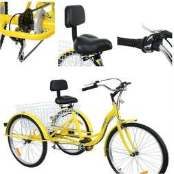 """26"""" 3-Wheel Ridgeyard 7-Speed Tricycle Trike Bicycle Bike Cr"""