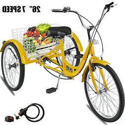 "24"" Adult Tricycle 3-Wheel 1Speed Bicycle Trike Cruiser w/To"