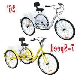 """Ridgeyard Adult 26"""" 3-Wheel Tricycle 7-Speed Low Step Trike"""