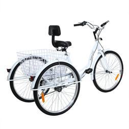 """Adult 26"""" 3-Wheel Tricycle Shimano 7-Speed Trike Bicycle Bik"""