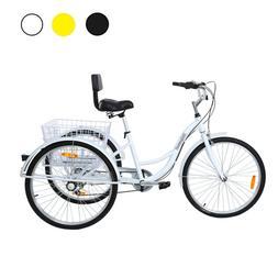 """Adult 7 Speed 26"""" 3-Wheel Tricycle Trike Bicycle Bike Cruise"""