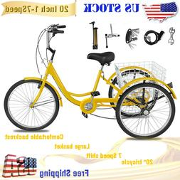 """Adult Tricycle 20"""" 3-Wheel 1 Speed Bicycle Yellow Trike Crui"""
