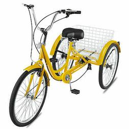 Adult Tricycle 24'' 7-Speed 3 Wheel Yellow Trike Shopping