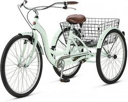 Adult Tricycle Bicycle 3 Tire Seat Basket Single Speed THREE