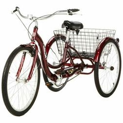"Adult Tricycle Bike 26"" 3 Wheel Bicycle Basket Beach Cruiser"