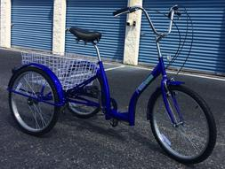 Adult Tricycle Blue Low Frame Design Six Speed Easy To Get O
