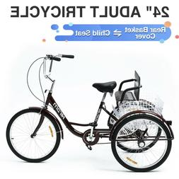 Adult Tricycle Three Wheel Trike Bike Cruiser with Rear Bask