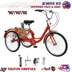 Adult Tricycles 3-Wheel Trike Bike Cruiser 7 Speed Cargo Bas