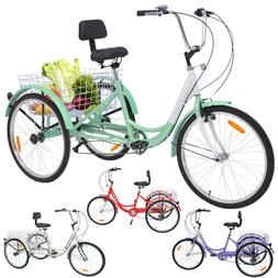 Adult Tricycles 7 Speed 24 inch 3 Wheels Bikes Trike with Ba