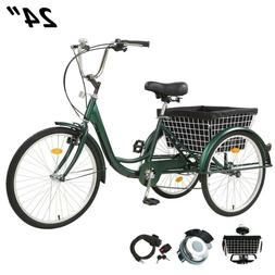 Adult Tricycles Three Wheel Trike Bike Cruiser 7 Speed 24 in