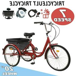 Adult Tricycles Three Wheel Trike Bike Cruiser 7 Speed 20″