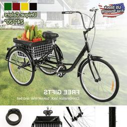 """Adult Trike Tricycle 24""""/20""""w/Storage Basket, 3-Wheel Bike C"""