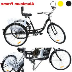 "Aluminum Frame 7 Speed 26"" 3-Wheel Tricycle Trike Bicycle Cr"