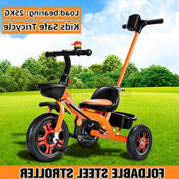 Baby Kids Toddler Tricycle Steel Stroller with Push Handle F
