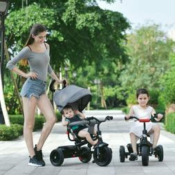 Besrey Baby Tricycle 4 In 1 Kids Travel  Pushchair Adjustabl