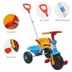 Best Pushable Tricycle With Handle For Kids Toddler Boy Blue