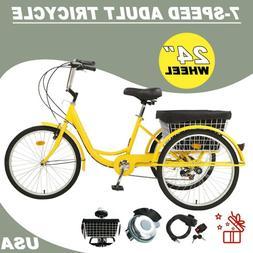 Adult Tricycle 24'' 7 Speed 3-Wheel Trike Bike W/Cruise &