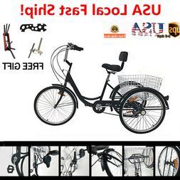 """Black 7-Speed Adult 24"""" 3-Wheel Tricycle Trike Bicycle Cruis"""