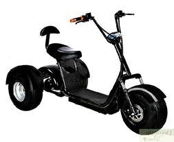 BLACK Electric Scooter 3 Wheel Trike Wide Tire 2000W 20AH 60
