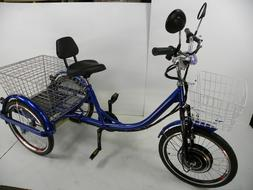 blue motorized electric three wheels tricycle adult