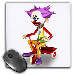 3dRose Boehm Graphics Cartoon - Clown on tricycle - MousePad