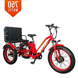 Bpmimports BPM R-750W 48V 17AH RED Rickshaw Fat TIRE Electri