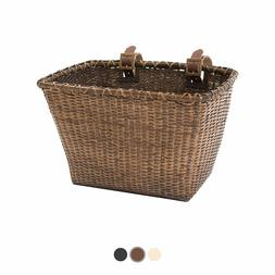 Retrospec Bicycles Cane Woven Rectangular Toto Basket with A