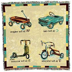car wagon tricycle scooter woven throw blanket