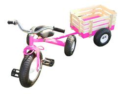 classic pink tricycle with wagon set pull