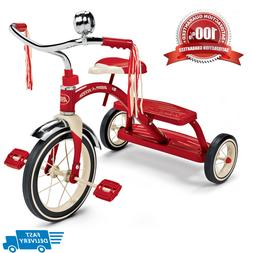 "Classic Red Dual Deck Kids Tricycle 12"" Front Wheel Steel Ou"