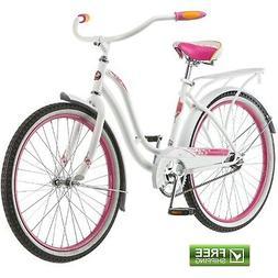 """Schwinn Cruiser Bike 24"""" Girls' White Pink Retro Comfort B"""