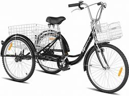 Cruiser Bike 3- Wheel Tricycle Bicycle Adults Men Women Blac