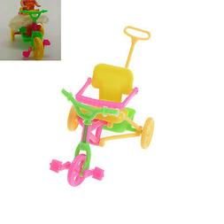 Cute Plastic Bike Tricycle with Push Handle for Dolls Kids G