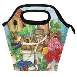 Wamika Cute Spring Birds Flower Lunch Bag Insulated Freezabl