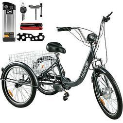 """EBIKE E-TRIKE Electric Bike 24"""" Adult Trike Tricycle 250W 36"""