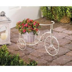 Enchanting White Metal Tricycle Planter