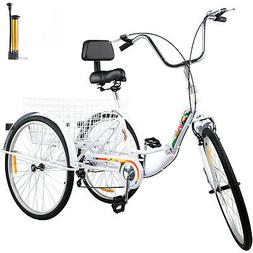 Foldable Tricycle Adult 26'' Wheels Folding Adult Tricycle 7