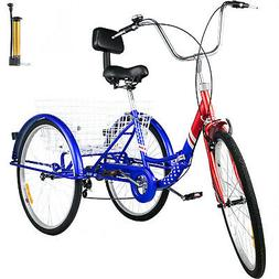 Foldable Adult Tricycle 24'' Folding Tricycle 7-Speed 3 Whee