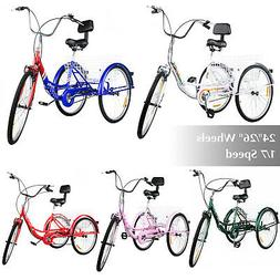 Foldable Adult Tricycle 24'' 26'' 1/7 Speed 3-Wheel Folding
