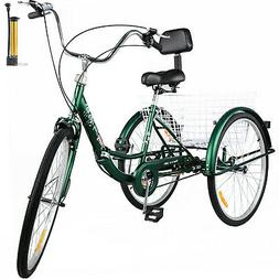Foldable Adult Tricycle 24'' Folding Tricycle 1-Speed 3 Whee