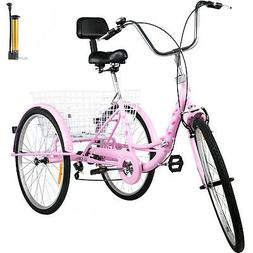 Foldable Tricycle Adult 26'' Wheels Adult Tricycle 7-Speed 3