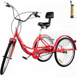 Foldable Adult Tricycle Folding Adult Trike 26'' 1 Speed Red