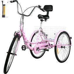 Foldable Tricycle Adult 26'' Wheels Adult Tricycle 1-Speed 3