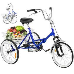 "Folding Adult Tricycle 20"" Portable Bicycle 3-Wheel Tricycle"