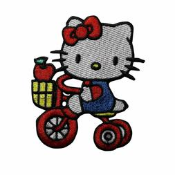 Hello Kitty Tricycle Apple Embroidered Iron On Patch - Cute