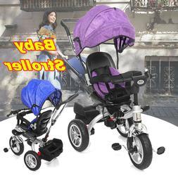 Kids 4 In 1 Ride 3 Wheel Baby Trike Tricycle Stroller Buggy
