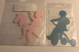 Kids Playing Tricycle Die Cut Lot Of 2