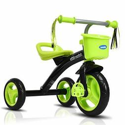INFANS Kids Tricycle Rider with Adjustable Seat, Storage Bas